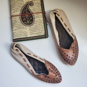 REEF SOUTHERN SOLSTICE WOVEN FX LEATHER FLATS 7.5